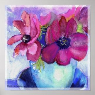 アネモネのピンクおよび紫色 ポスター