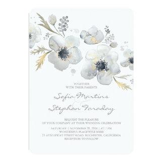 アネモネのヴィンテージの花束の水彩画の結婚式 カード