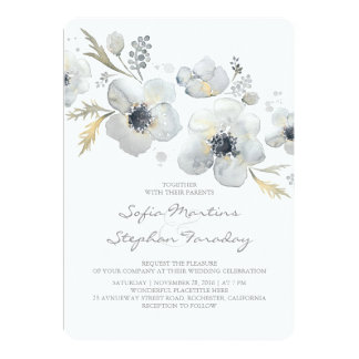 アネモネのヴィンテージの花束の水彩画の結婚式 12.7 X 17.8 インビテーションカード