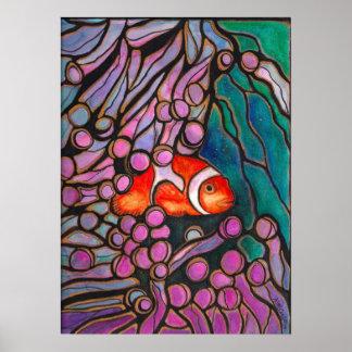 アネモネの家の珊瑚礁の芸術のプリントのピエロの魚 ポスター