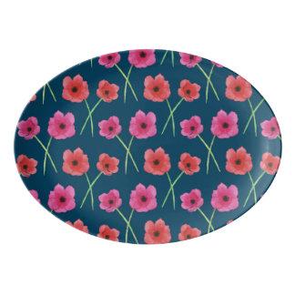 アネモネの花の水彩画の絵画パターン 磁器大皿