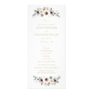 アネモネの花束の結婚式プログラム ラックカード