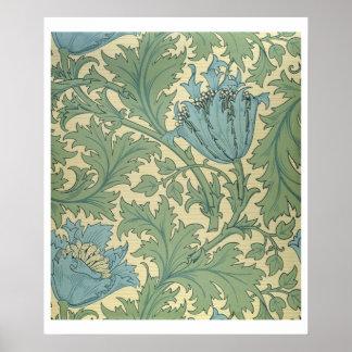 「アネモネ」のデザイン(織物) ポスター
