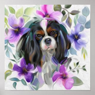 「アネモネ」三色の無頓着な犬の芸術のプリント ポスター