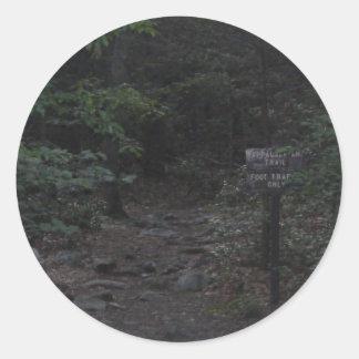 アパラチア山脈の道の歩道の印の薄暗がり ラウンドシール