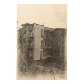 アパートの建物 ウッドウォールアート