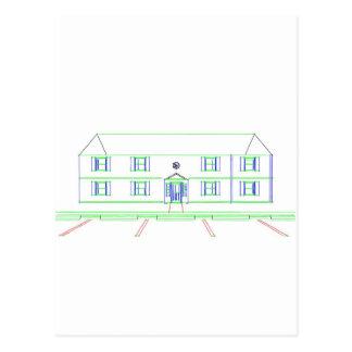 アパートの建物/家: マーカーのスケッチ ポストカード