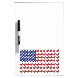 アヒルからなされる米国旗 ホワイトボード