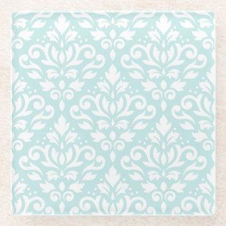アヒルの卵の青のスクロールダマスク織のPtnの白 ガラスコースター