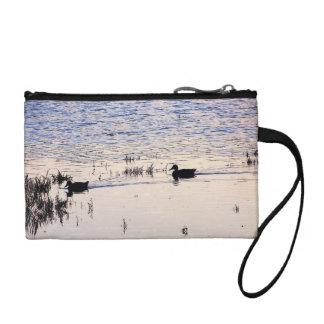 アヒルの鳥の野性生物動物の日没のバッグ コインパース