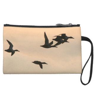 アヒルの鳥の野性生物動物の池のバッグ スエードクラッチ