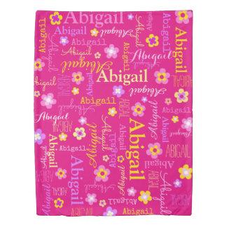 アビゲイルの女の子名前および花のピンクの羽毛布団カバー 掛け布団カバー