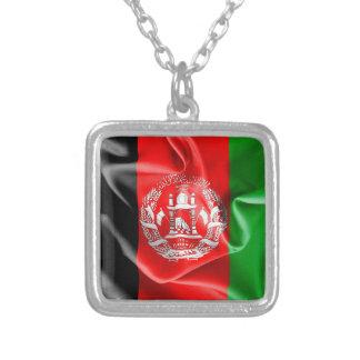 アフガニスタンの旗の正方形のペンダントのネックレス シルバープレートネックレス