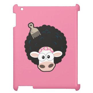アフリカのおもしろいな牛およびピンクの櫛 iPadケース