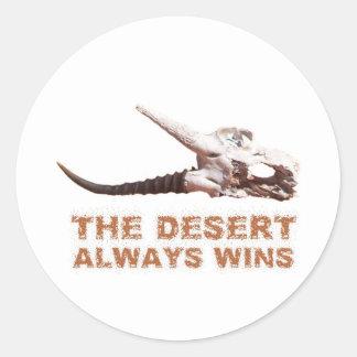 アフリカのカラハリ砂漠: 死んだカモシカのスカル ラウンドシール