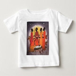 アフリカのクリスマスの出生場面 ベビーTシャツ