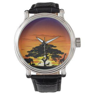 アフリカのサバンナの日没の腕時計の野生動物 リストウォッチ