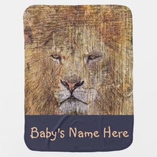 アフリカのサファリの動物の野性生物の威厳のあるなライオン ベビー ブランケット