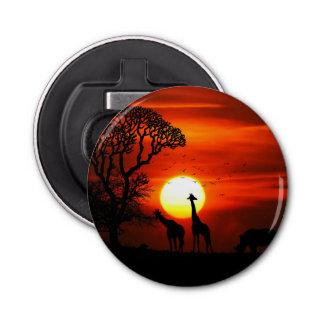 アフリカのサファリの日没動物のシルエット 栓抜き
