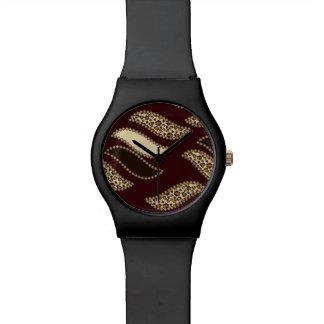 アフリカのチータの皮パターン 腕時計