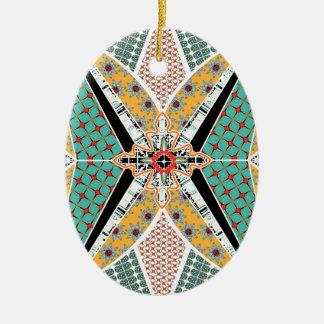 アフリカのモダンな中心の鮮やかなパターン 陶器製卵型オーナメント