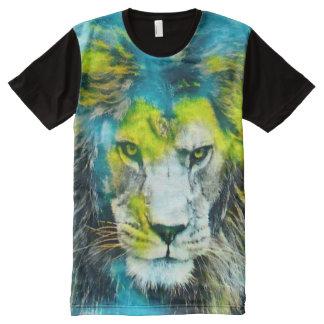 アフリカのライオンのファンタジーのエアブラシの芸術のグラフィックのティー オールオーバープリントT シャツ