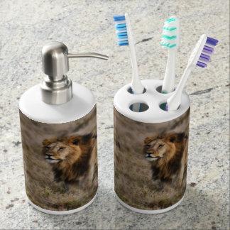 アフリカのライオンの歯ブラシまたは石鹸の浴室セット バスセット