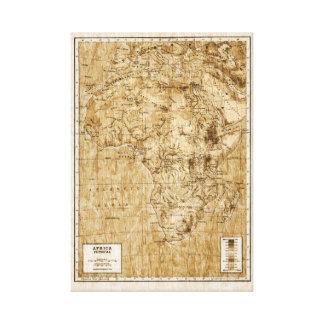 アフリカのヴィンテージの物理的な地図 キャンバスプリント