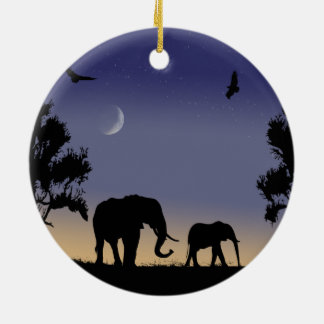 アフリカの夜明け-象 セラミックオーナメント