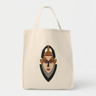 アフリカの女性の戦士のマスクが付いている食料雑貨のトートバック トートバッグ