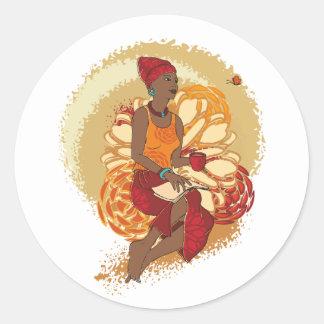 アフリカの女性 ラウンドシール