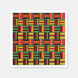 アフリカの斜子織のプライドの赤い黄色緑の黒 スタンダードカクテルナプキン