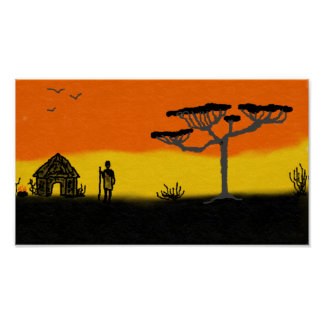 アフリカの日没 ポスター