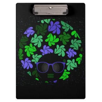 アフリカの花型女性歌手の緑及び青のクリップボード クリップボード