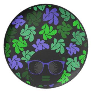 アフリカの花型女性歌手の緑及び青のプレート プレート