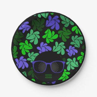 アフリカの花型女性歌手の緑及び青 ペーパープレート