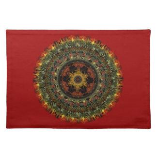 アフリカの薄暗がりの曼荼羅のランチョンマット(赤い) ランチョンマット
