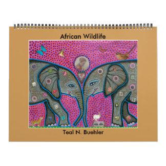 アフリカの野性生物のカレンダー カレンダー