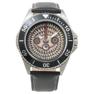 アフリカの革腕時計-種族のマスクの腕時計 腕時計