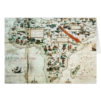 アフリカを示す世界の地図の詳細 カード
