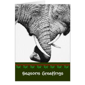 アフリカゾウのクリスマスカード グリーティングカード