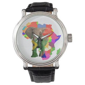 アフリカゾウの地図のヴィンテージ革バンドの腕時計 腕時計