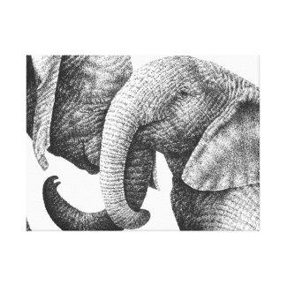 アフリカゾウはキャンバスのプリントを伸ばしました キャンバスプリント