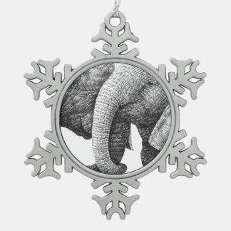 アフリカゾウ スノーフレークピューターオーナメント