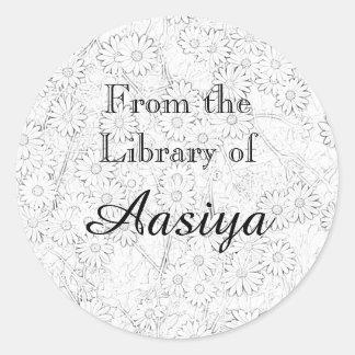 アフリカデイジーの蔵書票 丸形シールステッカー