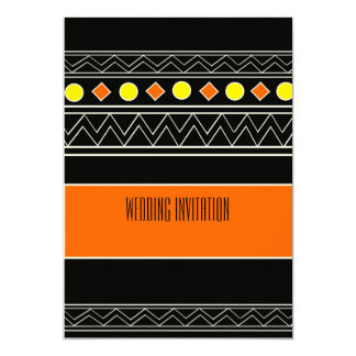 アフリカデザインのオレンジか黒い結婚式招待状カード カード