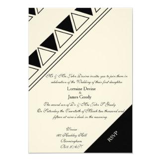 アフリカデザインの白くか黒い結婚式招待状カード カード