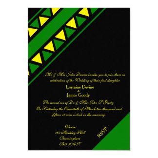 アフリカデザインの緑か黄色の結婚式招待状カード カード