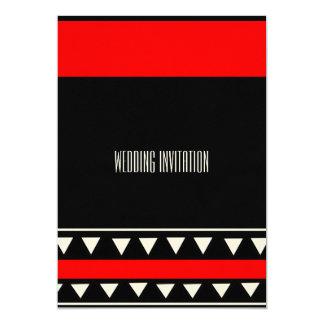 アフリカデザインの赤くか黒い結婚式招待状カード カード