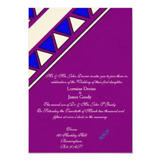アフリカデザインの青か紫色の結婚式招待状カード カード